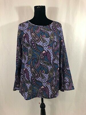 ECI Womens Size L Multi-Color Paisley Floral Long Bell Sleeve Blouse Top