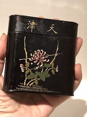 Antique Opium Or Tea Tin Box, Lacquer Chinese Characters & Chrysanthemum Flower