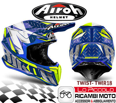 TWIR18 Helm Twist Off Road Enduro Moto-Cross Airoh Iron Blau Poliert XXL 63