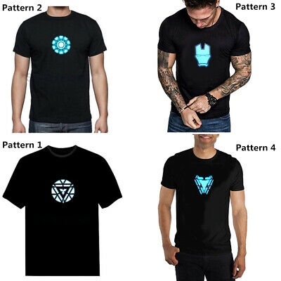 Iron Man Tony Stark Arc Reactor T-Shirt LED T-Shirt Light-Up Tee Unisex Costume