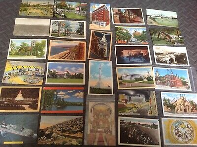 Lot approx 200 VINTAGE POSTCARDS USA USED & UNUSED 1900s TO 1960s ++