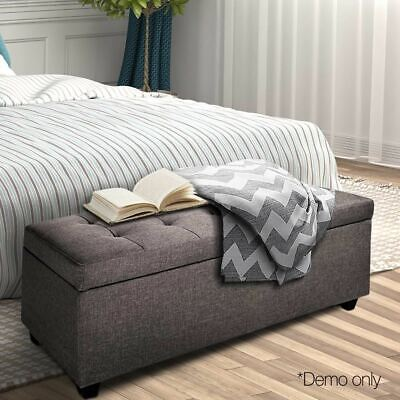 Cushion-top Storage Ottoman Linen Fabric Bench Stool Chest Seat Lift-up Lid