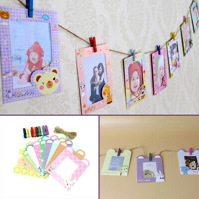 26ED 10Pcs/1Set Hanging Paper Photo Frame Film Album Picture Wall Clip Rope