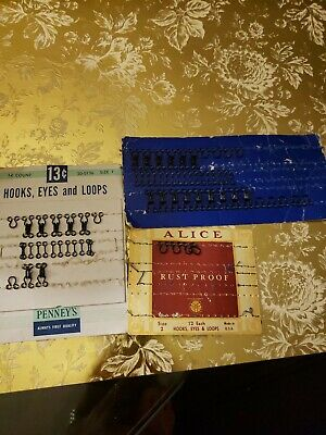 Vintage Assortment Of Different Sizes & Shape Sewing Hook Eyes And Loops
