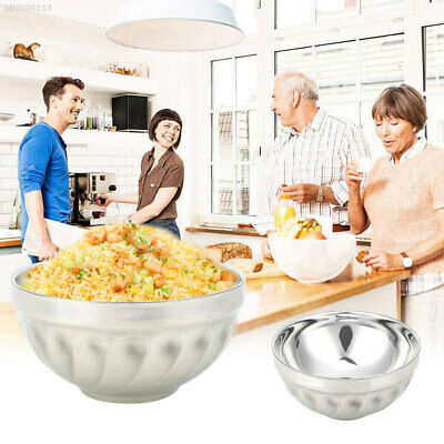 60F4 Heat Insulation Stainless Steel Bowls Utensil Container Rice Dual-Layers