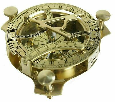 Solid Brass Sundial Compass Maritime - West London / Brand New - Aussie Stock !