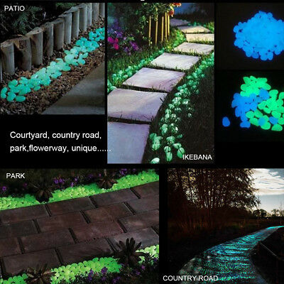 100-200Pcs Colorful Glow in The Dark Stones Pebbles Rock For Fish Tank Aquarium