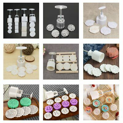 13 Pattern 50-125g Round Moon Cake Mold Flower Stamps DIY Mooncake Mould Tool