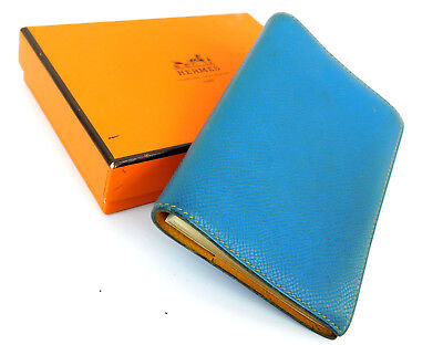 "Authentic Hermes Blue Jean Leather 5.2"" x  3.5"" Agenda Note Book Cover"
