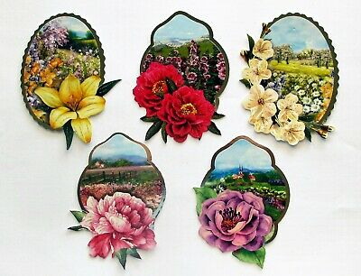 3D Easy Die Cut Card Topper FLOWER LANDSCAPES 5 Designs Glitter Type 1