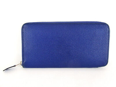 Authentic HERMES Azap Blue Leather Zip Around Long Wallet