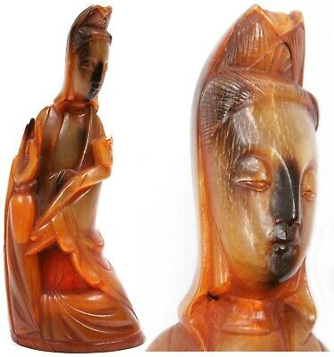 Vintage Chinese Ox Cow Horn Carving Quan Yin Goddess of Mercy Figurine China Old
