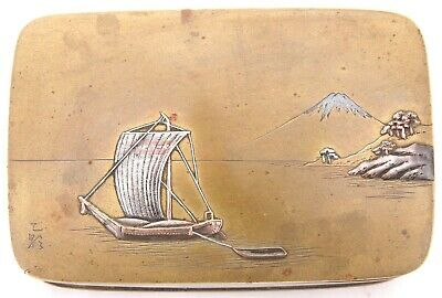 Antique Japanese Meiji Period Bronze Mixed Metal Box Sail Boat Mt. Fuji Signed