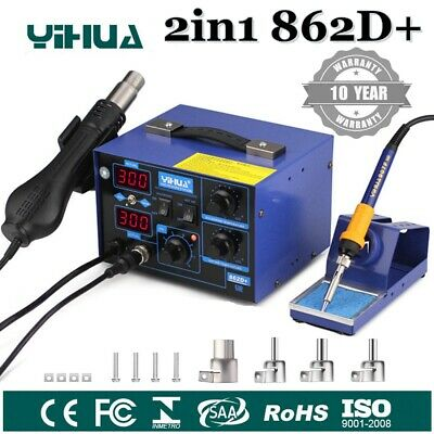 YiHua SMD Soldering Iron Station Hot Air Gun 2in1 Rework Desoldering Tool 862D+