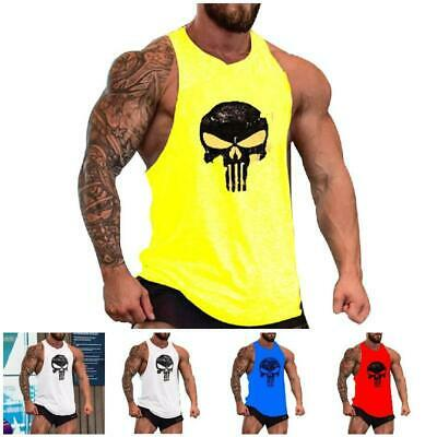 Gym Men's Muscle Sleeveless Tank Top Tee Shirt Bodybuilding Sport Vest UK Stock