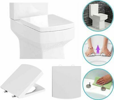 Modern Square Toilet Seat Heavy Duty Soft Close Quick Release Top Fitting Hinges