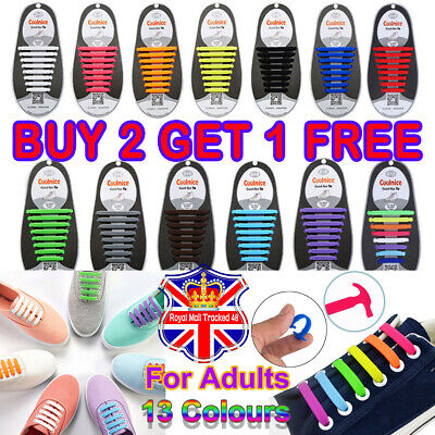Easy No Tie 100% Silicon Elastic Shoe Laces Trainers Snickers Shoelaces Adults