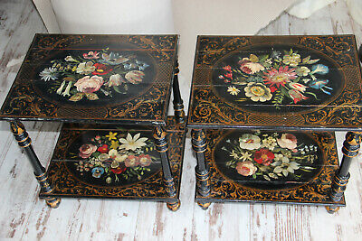 PAIR Antique Napoleon III era Black lacquered Side table inlaid mother pearl
