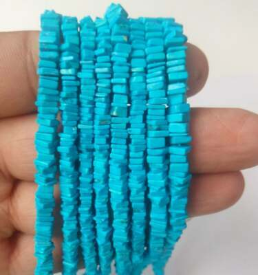 Natural Turquoise Gemstone Square Heishi Beads Strand Square Loose Beads 15 inch