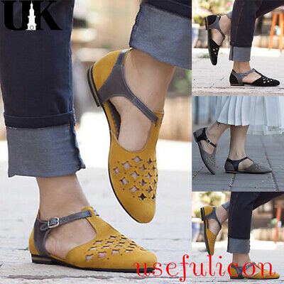 Womens Low Heel Pointed Toe Ankle Strap Buckle Ladies Summer Casual Flats Shoes