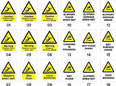5 x Slippery When Wet Single Sided Safety Sign - choices - shops offices schools