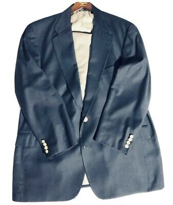 Tom James Investment Collection Suit Mens Sz 44C 42W Navy Blazer Tan Pants RA111