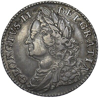 1747 Shilling - George Ii British Silver Coin - V Nice