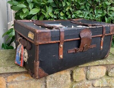 Vintage Steamer Trunk, with original Cunard White Star labels and stickers
