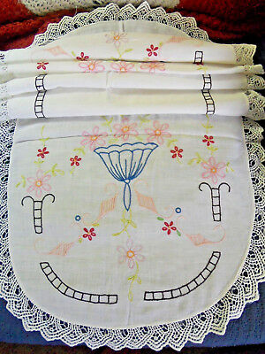 "Vintage 45"" Linen Runner ~ Embroidery Bell & Daisy Floral Design w/Hand Crochet"