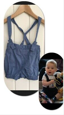 Next 12-18 Mths Baby Boy Blue Cotton Shorts With Braces Little Prince George