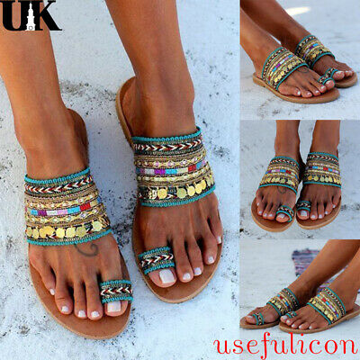 Womens Bohemian Sandals Ladies Summer Holiday Beach Toe Ring Flat Shoes UK 2.5-6