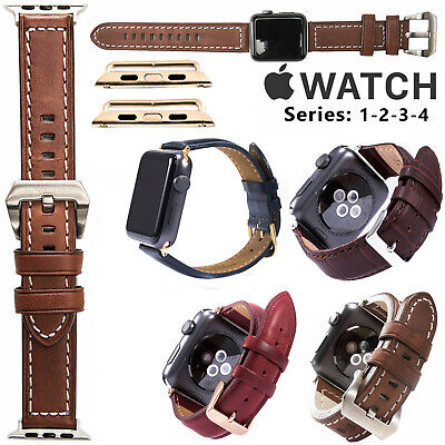 38/42mm Stylish Genuine Leather Watch Strap Band for Apple Watch Series 1/2/3