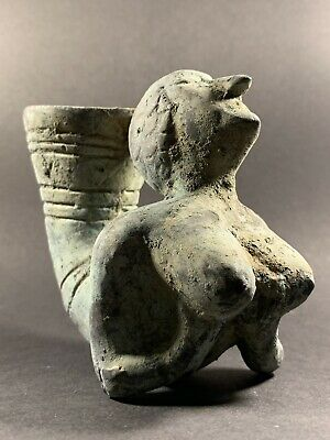 Ancient Persian Bronze Rhyton Featuring Erotic Female Bust Circa 4Th Century Bce