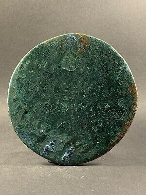 Good Condition Rare Ancient Viking Norse Bronze Mirror W/ Handle Circa 800-900Ad