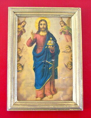 Antique Russian Icon Of Jesus Christ In Old Golden Frame