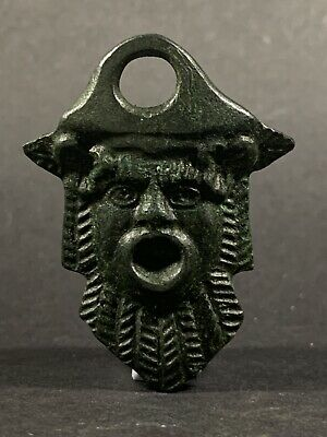 Very Rare Ancient Roman Bronze Depiction Of The Head Of Bacchus Circa 150-250Ad