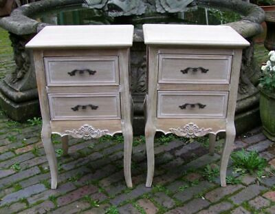 Pair Of French Louis Xv Style Shabby Chic 2 Drawer Bedside Chests (Cy16816)
