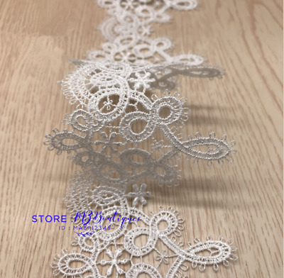 1 Yard Crochet Lace Trim Ribbon Wedding Applique Dress Sewing Decor Crafts FP262