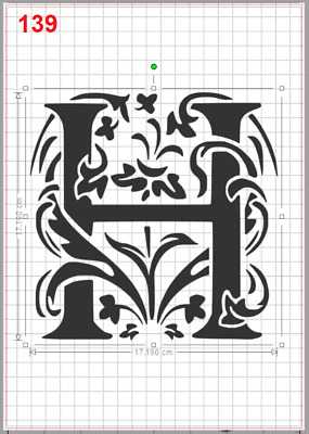 Beautiful Alphabet Letter H Stencil MYLAR A4 sheet strong resuable Craft ArtDeco
