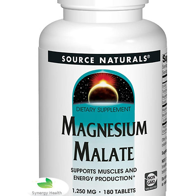 UK Freepost Magnesium Malate. Source Naturals 180 Tabs. Sameday SYNERGY UK