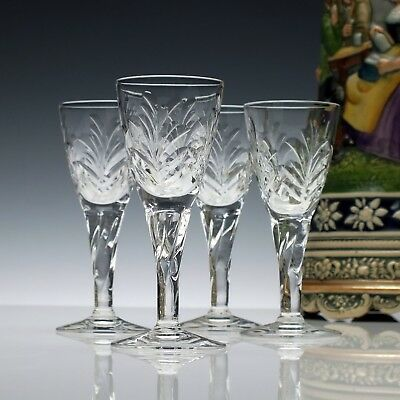 Four Antique Edwardian Cut Port Wine Glasses c1910