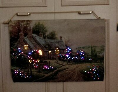 Led Lit Tapestry Wall Hanging Decoration Thatched Cottage Scene Xmas Lights