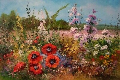Meadow Original Oil Painting Landscape Impasto Red Poppies Wild Flowers Palette