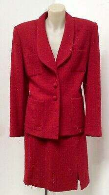 Designer French label Size 3 Red Wool & Lurex Fitted Suit