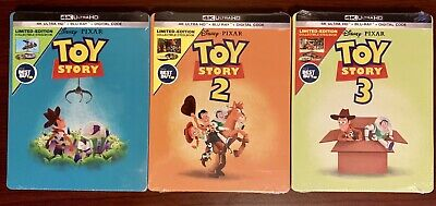 Toy Story Trilogy 1,2,3  Steelbook Lot (4K UHD/Blu-ray/Digital) Factory Sealed