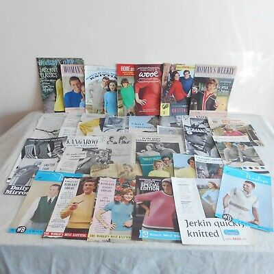 35 vintage knitting patterns, booklets, cuttings from 40,s, 50's & 60,s