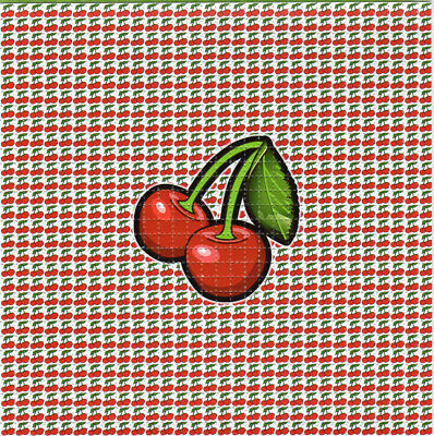 CHERRIES BLOTTER ART perforated paper sheet psychedelic art