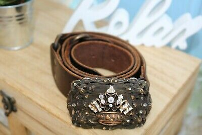 """Beth frank teal Jeweled tooled leather belt Size Womens Wiast 33"""""""