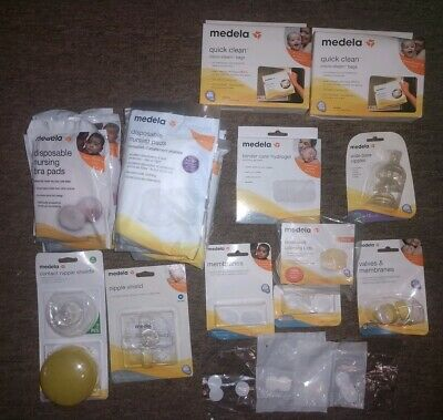 Huge Lot Medela Accessories Quick Clean Bags Bra Pads Membranes Nipples Hydrogel