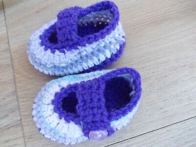Handmade crochet booties shoes ballerina baby girl 0-3months purple 3inch/8cm